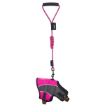 Touchdog Reflective-Max 2-in-1 Premium Performance Adjustable Dog Harness and Leash: Large, Pink, Charcoal Grey