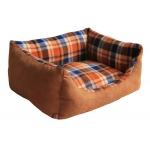 Pet Life Nano-Silver and Anti-Bacterial Rectangular Dog Bed: Small, Light Brown Plaid