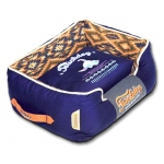 Touchdog 70's Vintage-Tribal Throwback Diamond Patterned Ultra-Plush Rectangular-Boxed Dog Bed: Large, Midnight Blue, Sandalwood