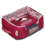 Touchdog 70's Vintage-Tribal Throwback Diamond Patterned Ultra-Plush Rectangular-Boxed Dog Bed: Medium, Sangria Pink