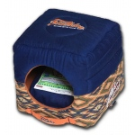 Touchdog 70's Vintage-Tribal Throwback Convertible and Reversible Squared 2-in-1 Collapsible Dog House Bed: One Size, Midnight Blue, Sandalwood