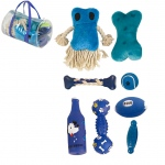 Pet Life 8 Piece Duffle Bag Pet Toy Set: One Size, Blue