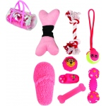 Pet Life 8 Piece Duffle Bag Pet Toy Set: One Size, Pink