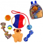 Pet Life 8 Piece Backpack Pet Toy Set: One Size, Red, Blue, White, Yellow