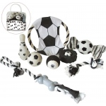Pet Life 8 Piece Soccer Themed Pet Toy Set: One Size, Black & White