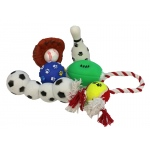 Pet Life 6 Piece Sports Themed Pet Toy Set: One Size, Black, White, Brown, Red, Yellow
