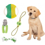 Pet Life 4 Piece Tennis Pet Toy Set: One Size, Red, White, Green