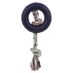 Pet Life Rubberized Pet Chew Rope And Tire: One Size, Black