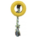 Pet Life Rubberized Pet Chew Rope And Tire: One Size, Yellow
