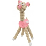 Pet Life Jute And Rope Giraffe - Pig Pet Toy: One Size, Pink