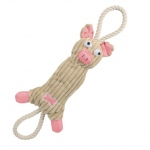 Pet Life Jute And Rope Plush Pig - Pet Toy: One Size, Pink