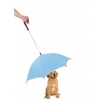 Pet Life Pour-Protection Umbrella With Reflective Lining And Leash Holder: One Size, Light Blue With Black Handle