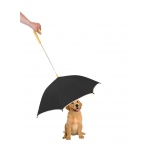 Pet Life Pour-Protection Umbrella With Reflective Lining And Leash Holder: One Size, Black With Yellow Handle