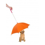 Pet Life Pour-Protection Umbrella With Reflective Lining And Leash Holder: One Size, Orange With Red Handle