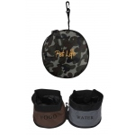 Pet Life Double Water Travel Pet Bowl: One Size, Camouflage