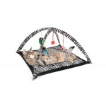 Zebra Print Cat Play Tent With Dangle Toys