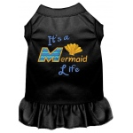 Mermaid Life Embroidered Dog Dress Black Med (12)