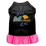 Mermaid Life Embroidered Dog Dress Black with Bright Pink XXL (18)