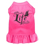 A Pirate's Life Embroidered Dog Dress Bright Pink Med (12)