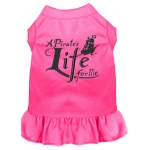 A Pirate's Life Embroidered Dog Dress Bright Pink Lg (14)