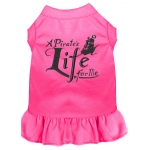 A Pirate's Life Embroidered Dog Dress Bright Pink XL (16)