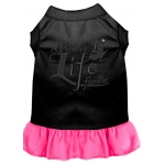 A Pirate's Life Embroidered Dog Dress Black with Bright Pink Med (12)