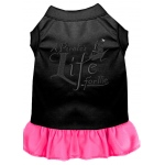 A Pirate's Life Embroidered Dog Dress Black with Bright Pink Lg (14)
