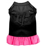 A Pirate's Life Embroidered Dog Dress Black with Bright Pink XL (16)