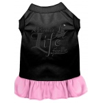 A Pirate's Life Embroidered Dog Dress Black with Light Pink Sm (10)