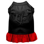 A Pirate's Life Embroidered Dog Dress Black with Red Med (12)