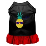 Pineapple Chillin Embroidered Dog Dress Black with Red Med (12)