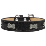 Crystal Bone Dog Collar Black Ice Cream Size 18