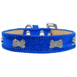 Crystal Bone Dog Collar Blue Ice Cream Size 18