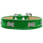 Crystal Bone Dog Collar Emerald Green Ice Cream Size 18