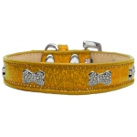 Crystal Bone Dog Collar Gold Ice Cream Size 20