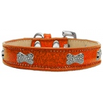Crystal Bone Dog Collar Orange Ice Cream Size 18