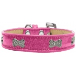 Crystal Bone Dog Collar Pink Ice Cream Size 18