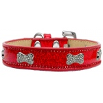Crystal Bone Dog Collar Red Ice Cream Size 18