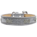 Crystal Bone Dog Collar Silver Ice Cream Size 18