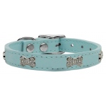 Crystal Bone Genuine Leather Dog Collar Baby Blue 10