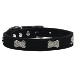 Crystal Bone Genuine Leather Dog Collar Black 24