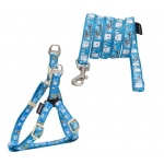Touchdog 'Caliber' Designer Embroidered Fashion Pet Dog Leash And Harness Combination: Medium, Blue Pattern