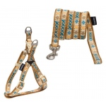 Touchdog 'Caliber' Designer Embroidered Fashion Pet Dog Leash And Harness Combination: Medium, Brown Pattern