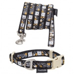 Touchdog 'Caliber' Designer Embroidered Fashion Pet Dog Leash And Collar Combination: Medium, Black Pattern