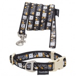 Touchdog 'Caliber' Designer Embroidered Fashion Pet Dog Leash And Collar Combination: Large, Black Pattern