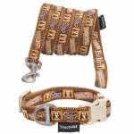 Touchdog 'Caliber' Designer Embroidered Fashion Pet Dog Leash And Collar Combination: Large, Brown Pattern