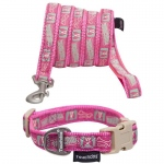 Touchdog 'Caliber' Designer Embroidered Fashion Pet Dog Leash And Collar Combination: Large, Pink Pattern