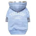 Touchdog Hampton Beach Designer Ultra Soft Sand-Blasted Cotton Pet Dog Hoodie Sweater: Medium, Blue