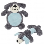 Pet Life Cozy Play Plush 2 Set Of Matching Squeaking Chew Dog Toys: One Size, Grey/Blue