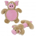 Pet Life Cozy Play Plush 2 Set Of Matching Squeaking Chew Dog Toys: One Size, Pink/Brown